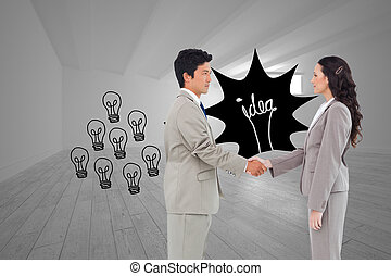 composite, main, vue côté, partenaires, commerce, image, secousse
