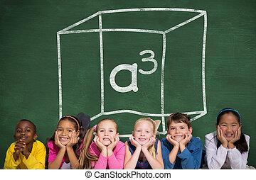 composite, mignon, sourire, appareil photo, élèves, image