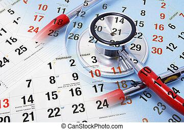 Calendar and Stethoscope - Composite of Calendar and...
