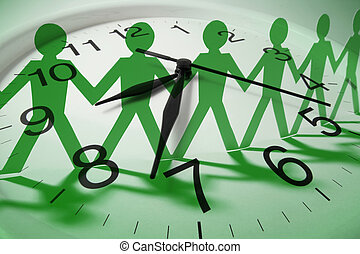 Composite of Clock and Paper Dolls