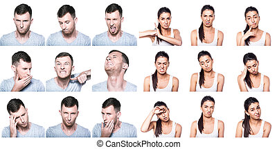 Composite of negative emotions and gestures with boy and girl