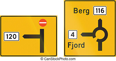 Composite of Norwegian highway direction signs with destinations