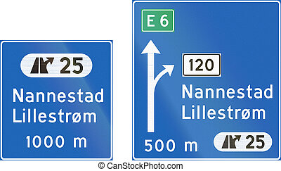 Composite of Norwegian motorway direction signs with destinations
