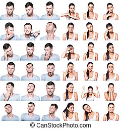Composite of positive and negative emotions and gestures with boy and girl