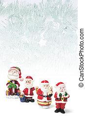 Santa Figures and Tinsel