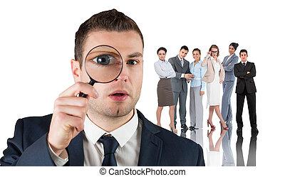 composite, par, magnifier, regarder, homme affaires, image, verre