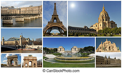 composite picture with monuments of Paris, capitale of France