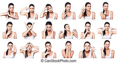 composite, positif, négatif, émotions, gestes, gi