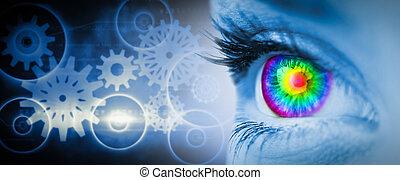 composite, pyschedelic, bleu, image, oeil, figure