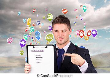 composite, rapport, homme affaires, image, service, client