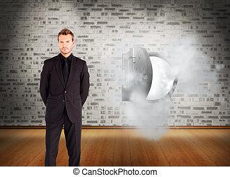 composite, regarder, appareil photo, homme affaires, image, jeune