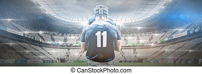 composite, rugby, stade, joueur, image numérique, debout, ...