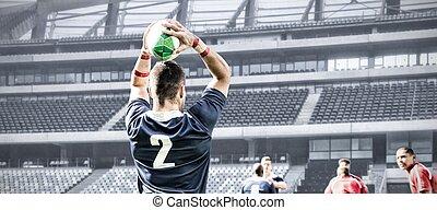 composite, rugby, stade, joueur, image numérique, lancement...