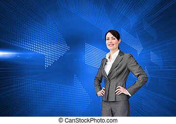 composite, séduisant, casque à écouteurs, agent, client, image, service