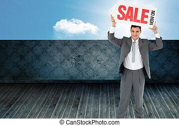 composite, sien, au-dessus, signe, tête, homme affaires, image