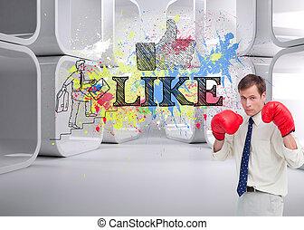 composite, sien, image, boxe, homme affaires, gants, prêt, baston