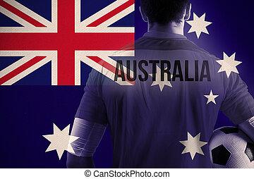 composite szobor, közül, ausztrália, foci játékos, hatalom labda