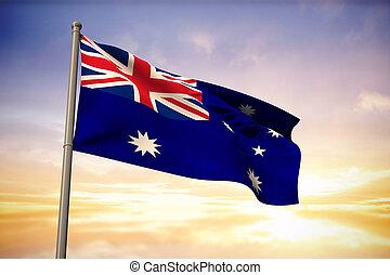 composite szobor, közül, ausztrália, nemzeti lobogó