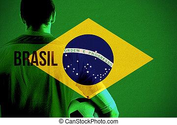 composite szobor, közül, brasil, foci játékos, hatalom labda