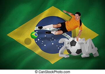 composite szobor, közül, foci játékos, alatt, narancs, ugrás