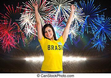 composite szobor, közül, izgatott, foci rajongó, alatt, brasil, trikó