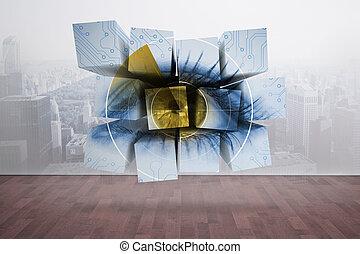 composite szobor, közül, szem, képben látható, elvont,...