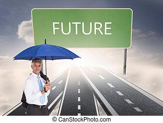 composite, tenue, bleu, parapluie, homme affaires, image