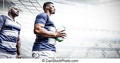 composite, tenue, rugby, deux, stade, image numérique, ...