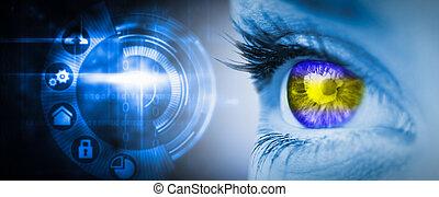 composite, vert jaune, bleu, image, oeil, figure