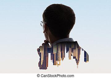 composite, ville, homme affaires, portrait, numérique