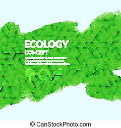 composition., écologie, acryl, peint, concept., vert,...