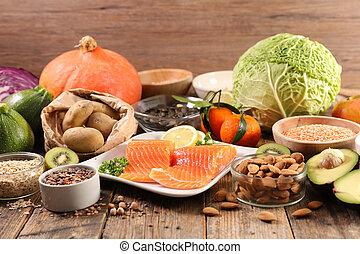 composition-, בריא, סלמון, ירק, fish, food-, סגנון חיים, פרי, דגן