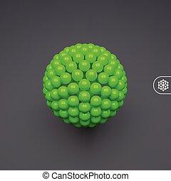 composition., 抽象的, イラスト, 球, ベクトル, 3d, 技術, style., 未来派, design.