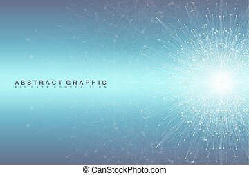 composition., 線, ネットワーク, 視覚化, dots., information., 大きい, 社会, ...