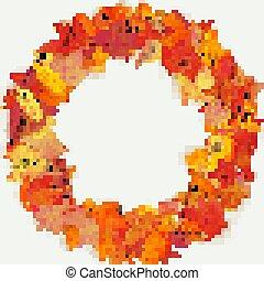 composition., 10, 作られた, ライト, 葉, 花輪, eps, 秋, バックグラウンド。, 花