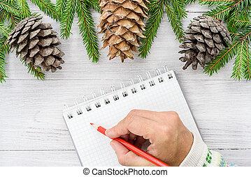 composition., année, écriture, arrière-plan., cahier, venir, nouvelle année, noël