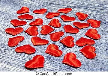 composition., apartamento, conceito, valentine, configuração, love., topo, hearts., maior, dia, vermelho, vista