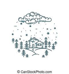 composition., appartamento, lineare, vettore, rotondo, paesaggio, inverno