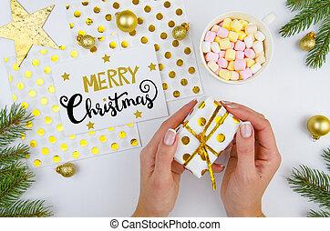 composition., arany-, vidám, év, leány, fenyő, tető, dal, birtok, új, white christmas, lakás, box., decorations., háttér, kézírás, kártya, elágazik, tehetség, karácsony, kilátás