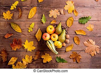 composition., backgroun, feuille, bois, coup, automne, fruit, studio