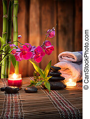 composition bamboo-purple orchid