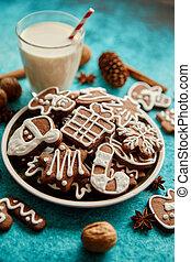 composition., beklæde, småkager, sød, ingefærkage, sortiment, jul