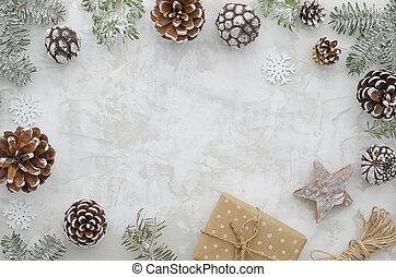 composition., boks, robiony, dar, przestrzeń, drewniany, gwiazda, ułożyć, gałęzie, płaski, gwiazdkowa ozdoba, związać, wolny, tło, jodła, snowlakes, biały, lettering., stożki, pieśń