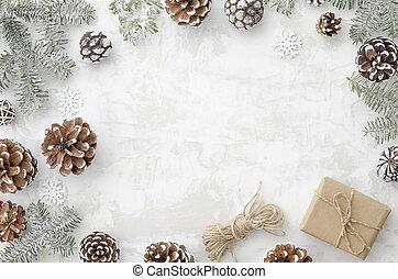 composition., boks, robiony, płatki śniegu, dar, płaski, ułożyć, gałęzie, space., gwiazdkowa ozdoba, związać, pieśń, tło, jodła, biały, kopia, stożki