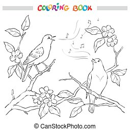 composition., canta, jardín, primavera, decorativo, negro, florido, branch., blanco, flor, pájaro, illustration.