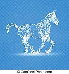 composition., cheval, 2014, chinois, résumé, maille, vecteur, année, nouveau, horse.