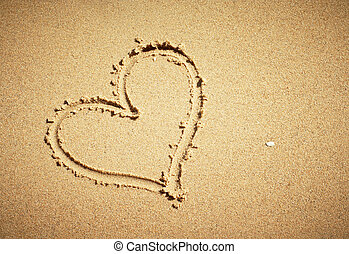 composition., coeur, horizontal, dessiné, sand.