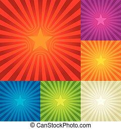 composition., concentration étoile, six, colors., fond, central