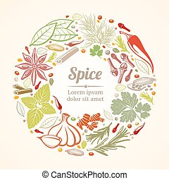 composition., concept, levensstijl, iconen, gezonde , keukenkruiden, vector, cirkel, kruiden