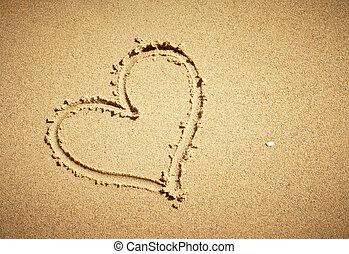 composition., coração, horizontais, desenhado, sand.